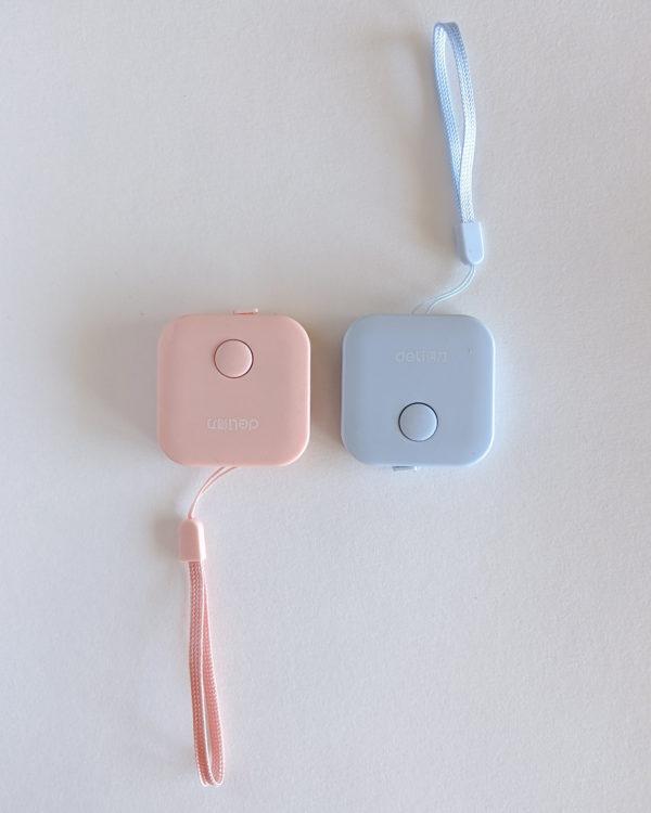 Mètres couturière, carré rose et bleu